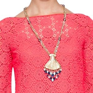 Lilly Pulitzer bombshell necklace gold and blue